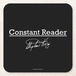 Stephen King, lector constante Posavasos De Cartón Cuadrado