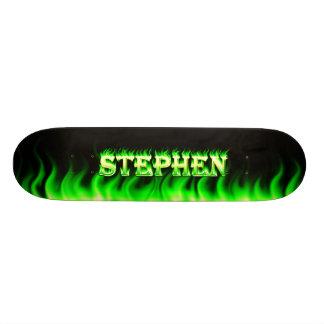 Stephen skateboard green fire and flames design
