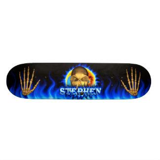 Stephen skull blue fire Skatersollie skateboard.