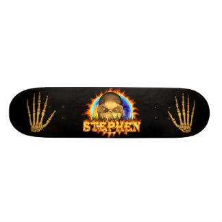 Stephen skull real fire and flames skateboard desi