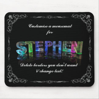 Stephen  - The Name Stephen in 3D Lights (Photo) Mouse Pad