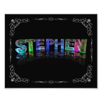 Stephen  - The Name Stephen in 3D Lights (Photo) Photo Print