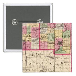 Stephenson, Winnebago, Boone counties 2 Inch Square Button