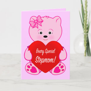 Stepmom Teddy With Heart Happy Birthday Card