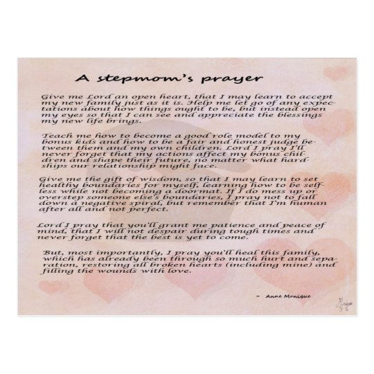 Stepmother's prayer postcard