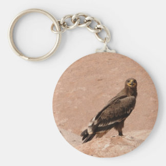 Steppe Eagle, Aquila nipalensis, Steppenadler Basic Round Button Keychain