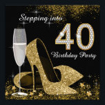 "Stepping Into 40 Birthday Party Invitation<br><div class=""desc"">Beautiful black and gold stepping into 40 birthday party invitation with elegant champagne glass, and gold high heel shoes. You can easily customize this elegant black and gold stepping into 40 birthday party invitation for your event by simply adding your details in the font style and color, and wording of...</div>"