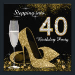 """Stepping Into 40 Birthday Party Invitation<br><div class=""""desc"""">Beautiful black and gold stepping into 40 birthday party invitation with elegant champagne glass, and gold high heel shoes. You can easily customize this elegant black and gold stepping into 40 birthday party invitation for your event by simply adding your details in the font style and color, and wording of...</div>"""