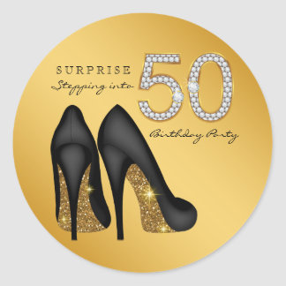Stepping Into 50 Birthday Party Classic Round Sticker