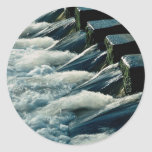 Stepping stones across river, IIkley, West Yorkshi Round Sticker