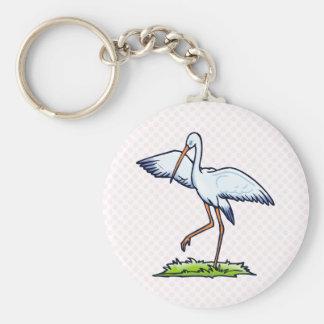 Steppy Stork Basic Round Button Keychain