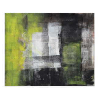 'Steps' Black and Yellow Abstract Art Poster