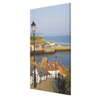 Steps leading down to the harbour, Whitby, North Stretched Canvas Prints