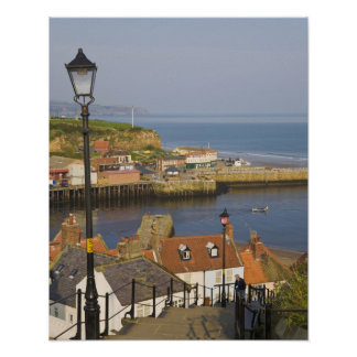 Steps leading down to the harbour, Whitby, North Poster