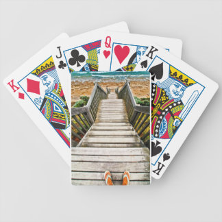 Steps leading to the beach bicycle playing cards
