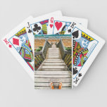 Steps leading to the beach poker deck