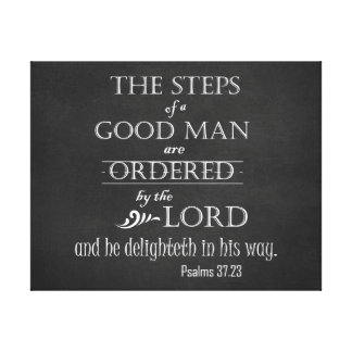 Steps of a Good Man Bible Verse Typography Canvas Print