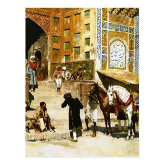 Steps of Mosque Vazirkham,Lahore by Edwin Weeks Postcard