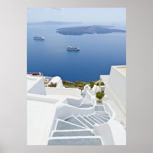 Steps of Santorini Poster