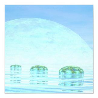 Steps on the ocean - 3D render Card