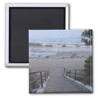 steps to the beach 2 inch square magnet