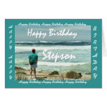 STEPSON Happy Birthday - Man and Ocean Waves Greeting Card