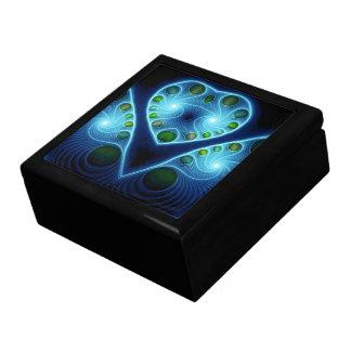 Stereo Love Heart Fractal Aqua Blue Keepsake Box