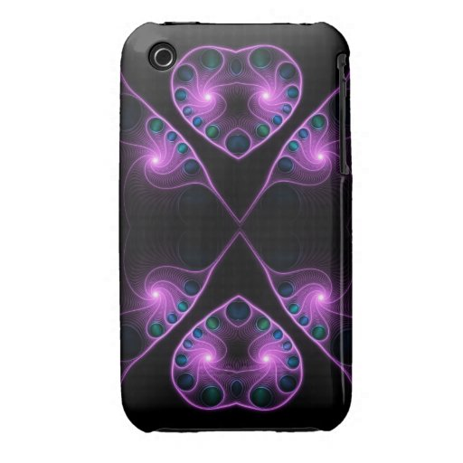 Stereo Love Heart Fractal Pink Case-Mate iPhone 3 Cases