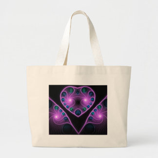 Stereo Love Heart Fractal Pink Tote Bags