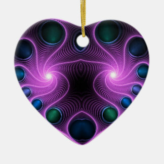 Stereo Love Heart Fractal Pink Tree Ornament