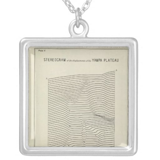 Stereogram Uinta Mountains Square Pendant Necklace