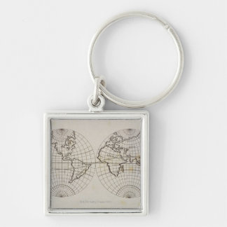 Stereographic Map Silver-Colored Square Keychain