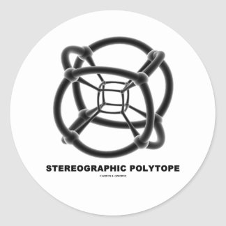 Stereographic Polytope (4-Dimensional Cube) Classic Round Sticker