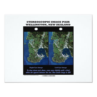 "Stereoscopic Image Pair Wellington New Zealand 4.25"" X 5.5"" Invitation Card"