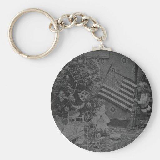 Stereoview - navidad patriótico circa 1901 llaveros personalizados
