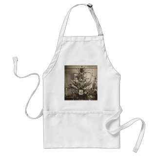 Stereoview Old Time Christmas Tree Adult Apron