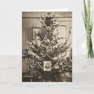 Stereoview Old Time Christmas Tree card