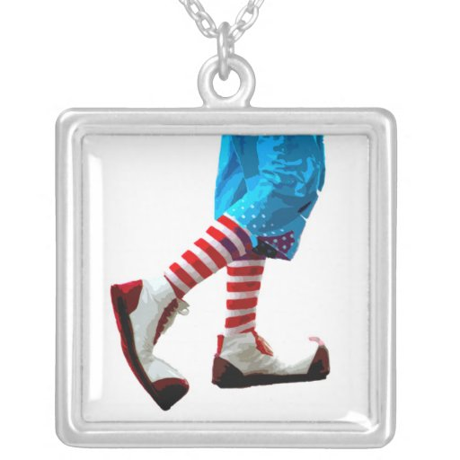 Sterling Clown Feet Necklace