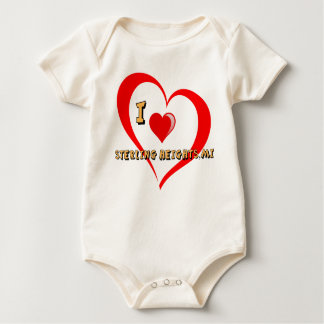 Sterling Heights Michigan Double Heart Design Baby Bodysuit