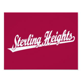 Sterling Heights script logo in white distressed Card