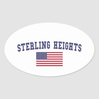 Sterling Heights US Flag Oval Sticker