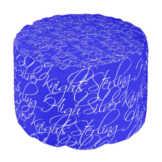 Sterling High Script Text Design I Round Pouf