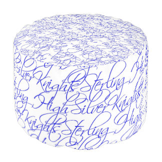 Sterling High Script Text Design II Round Pouf