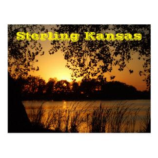 Sterling Kansas Sand Pit Golden Sunset Post Card