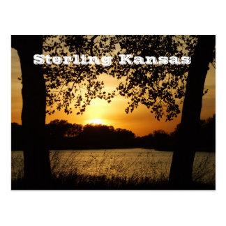 Sterling Kansas Sand Pit Sunset Post Card
