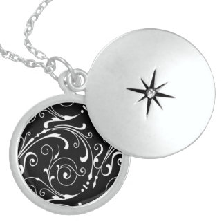 Sterling Silver Abstract Locket Pendant Necklace