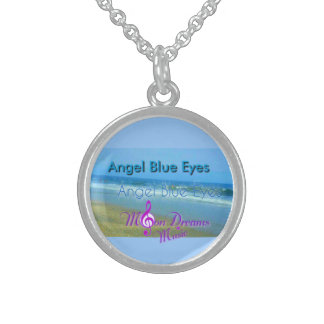 "Sterling Silver ""Angel Blue Eyes"" Round Necklace"