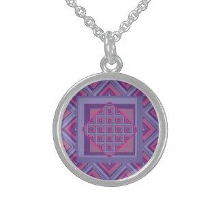 Sterling silver art purple passion diamond pattern round pendant necklace
