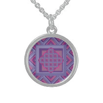 Sterling silver art purple passion diamond pattern sterling silver necklace