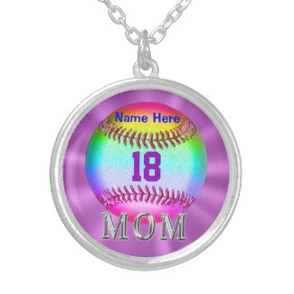 Sterling Silver Baseball Necklace NUMBER and NAME